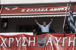 Golden Dawn plays Nazi anthem at food handout